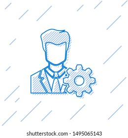 Blue Profile settings line icon isolated on white background. User setting icon. Profile Avatar with cogwheel sign. Account icon. Male person silhouette