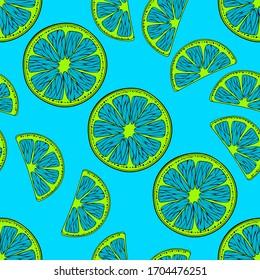 Blue psychedelic Citrus. Fruit pattern of blue citrus on a blue background. Modern flat pattern in pop art style.