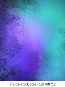 blue purple background color splash on black vintage grunge background texture abstract design, graphic art for website template background or brochure paper ad, old messy retro wall style paint art
