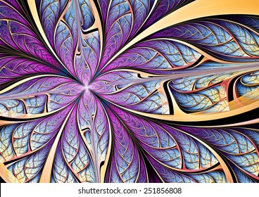 Blue and purple butterfly on a flower. Abstract color background for modern creative design. Beautiful decoration  for wallpaper, interior, album, flyer cover, poster, booklet. Fractal artwork