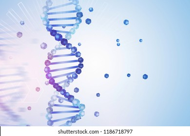 Blue purple vertical dna helix with parts of it scattered around over light blue background with geometric pattern. Biotech, biology, medicine and science concept. 3d rendering mock up