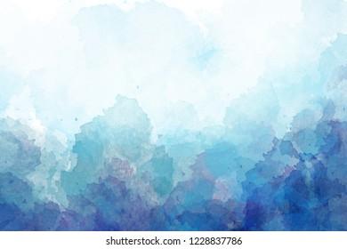 Blue, purple watercolor background. Digital painting.