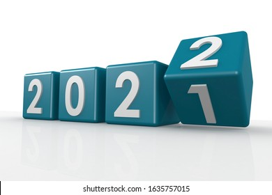 Blue puzzle of year 2022, 3D rendering
