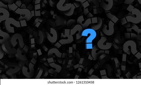 Blue question mark on a background of black signs. Illustration