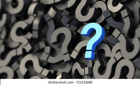 Blue question mark on a background of black signs. 3D Rendering.