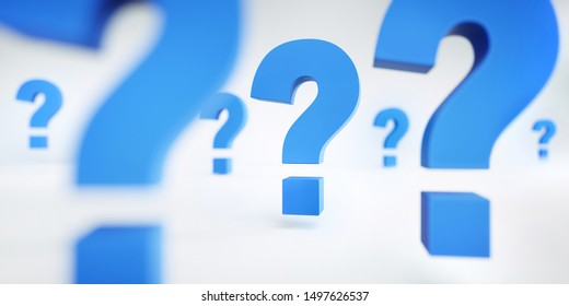 Blue question marks floating on a white background - 3d Illustration