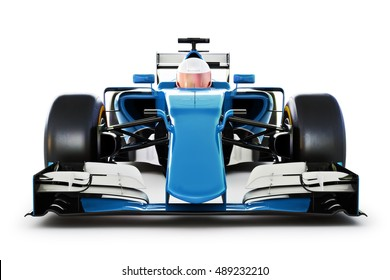Blue Race car and driver front view on a white isolated background.Generic 3d rendering