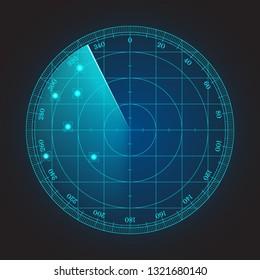 Blue radar screen illustration for your design