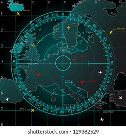 Blue radar screen over square grid lines, and map of Europe territory with smooth light beneath, raster copy