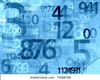 blue random numbers background illustration