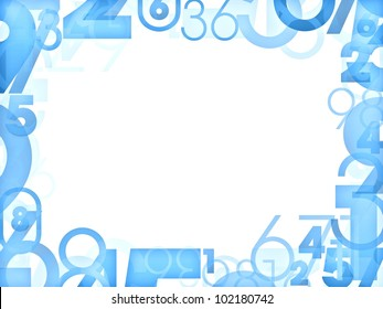 Blue random numbers frames isolated on white