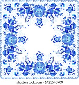 Blue raster floral square napkin in Russian gzhel style.