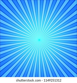 blue rays pop art background. retro comic style illustration