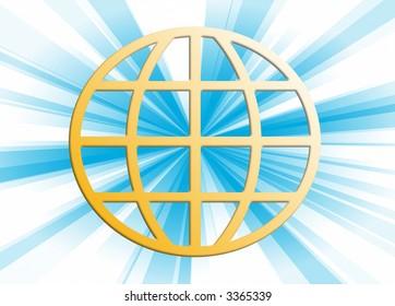 Blue rays through terrestrial sphere globe illustration background