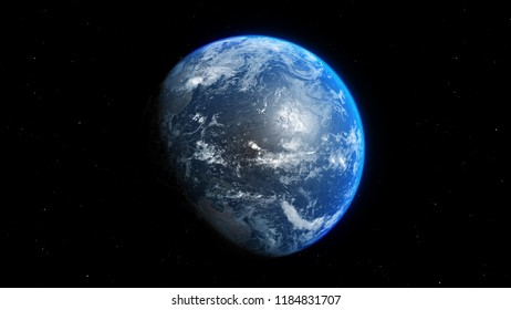 blue realistic glow earth in open space. 3D illustration
