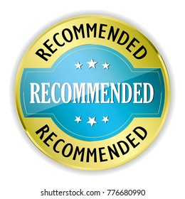 Blue recommended badge with gold border on white background.