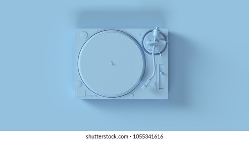 Blue Record Player Turntable 3d illustration