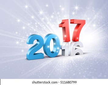 Blue and red 2017 New Year type over 2016, on a festive silver background - 3D illustration