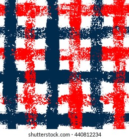 Blue and red checkered grunge gingham seamless pattern background