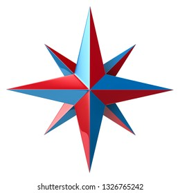 Blue and red compass rose 3d illustration on white background