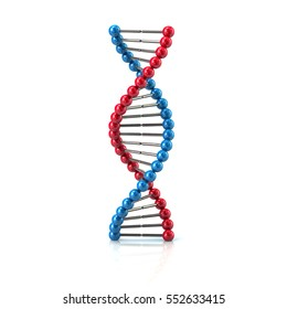 Blue and red DNA icon 3d rendering on white background