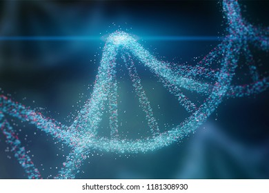 Blue and red particles dna helix glowing over dark blue background. Concept of genetics, science and medicine. Biotech. 3d rendering copy space toned image