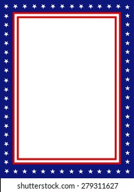 Blue and red patriotic stars and stripes page  border / frame design