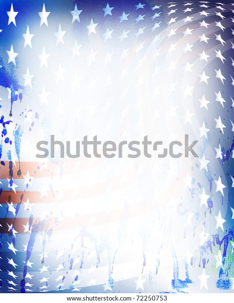 Blue, red stripes, white stars on grungy spotted blots with copy space in center.