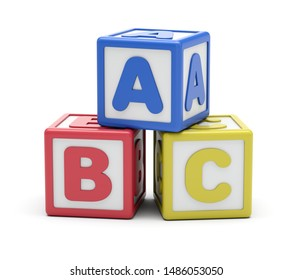 Blue, red, yellow alphabet blocks. 3D rendering. Isolated on white background.