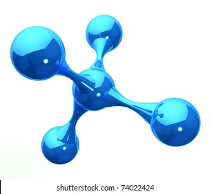 blue reflective molecular structure on white