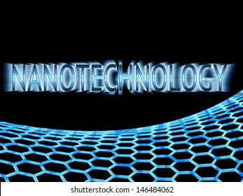blue reflective  nanotechnology text in ray lights and blue graphene structure on black background