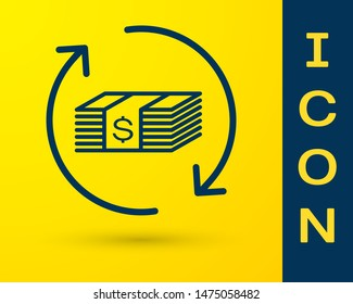 Blue Refund money icon isolated on yellow background. Financial services, cash back concept, money refund, return on investment, savings account