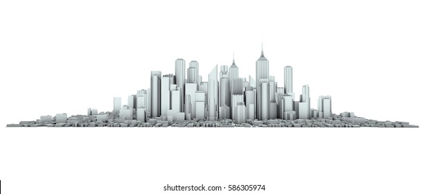 blue render of an skyline 3d rendering