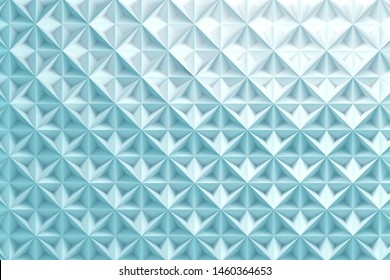 Blue repeating pattern with inverted pyramids triangles. 3d illustration.