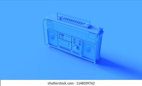 Blue Retro Boombox 3d illustration 3d render