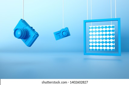 Blue retro camera on blue background with Wave frame 3d rendered image Stylish background abstract composition still life Clean Geometric concept design idea Vacation holidays travel accessories