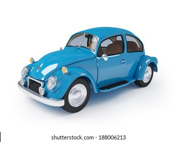 Blue retro car from forties on a white background