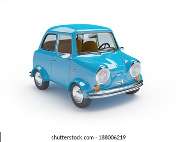 Blue retro mini car on a white background