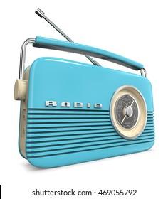 Blue Retro Radio. 3D render of a Classic Blue Retro Style Radio.