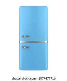 Blue Retro Refrigerator Isolated. 3D rendering