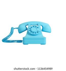 Blue retro rotary phone isolated on white background. Trendy fashion style. Minimal design art. 3d illustration.