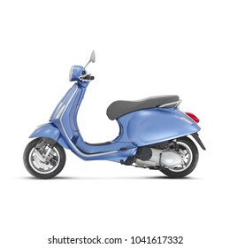 Blue Retro Scooter Isolated on White Background. Side View of Vintage Motor Scooter. Electric Scooter. Motorcycle with Step-Through Platform. Modern Personal Transport. 3D Rendering. Classic Scooter