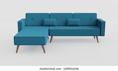 Blue Retro Sofa 3D Rendering