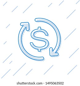 Blue Return of investment line icon isolated on white background. Money convert icon. Refund sign. Dollar converter concept
