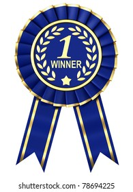 Blue Ribbon Award isolated on white background.
