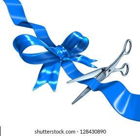 Blue ribbon cutting business concept with a three dimensional silk bow being cut by metal scissors as a symbol of launching and unveiling an important announcement or celebrating success.