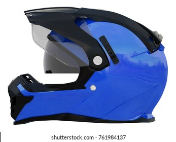 blue rider helmet for race with black and white accesories on a white background 3d rendering