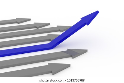 Blue rising arrow on a white background, upswing concept, 3d rendering