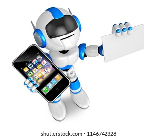 Blue robot character Smart Phone the left hand holding. business card with your right hand. Create 3D Humanoid Robot Series.