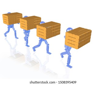 Blue robots with yellow casegoods on white reflective background, 3D illustration.